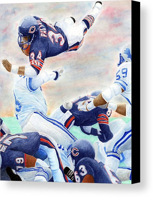 Walter Payton Canvas Print featuring the pastel Sweetness Over The Top by Lyle Brown