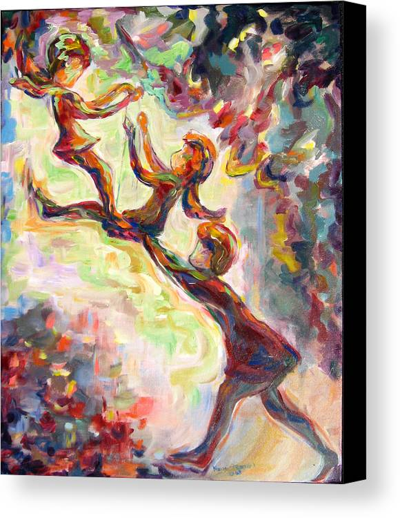 Children Swinging Canvas Print featuring the painting Swinging High by Naomi Gerrard