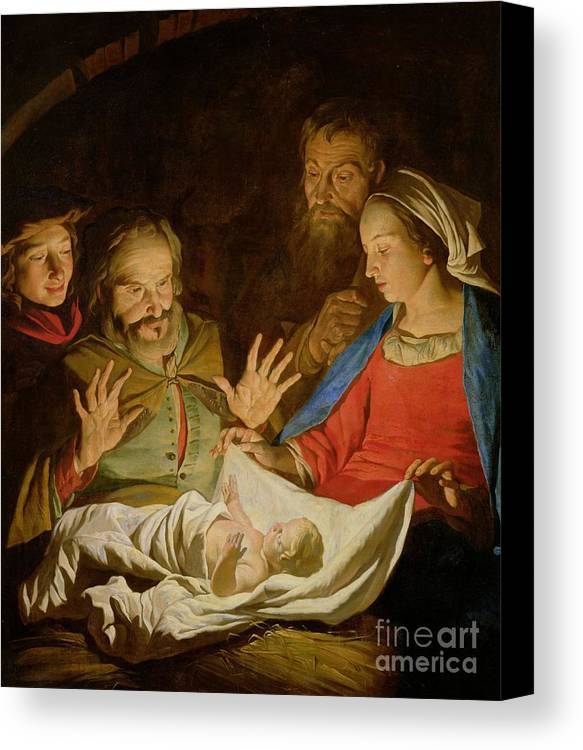 The Adoration Of The Shepherds (oil On Canvas) Canvas Print featuring the painting The Adoration Of The Shepherds by Matthias Stomer