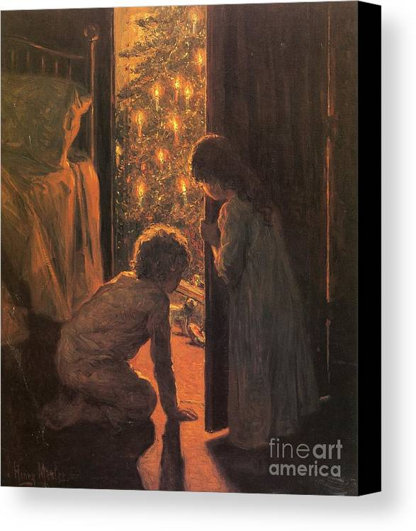 The Christmas Tree Canvas Print featuring the painting The Christmas Tree by Henry Mosler