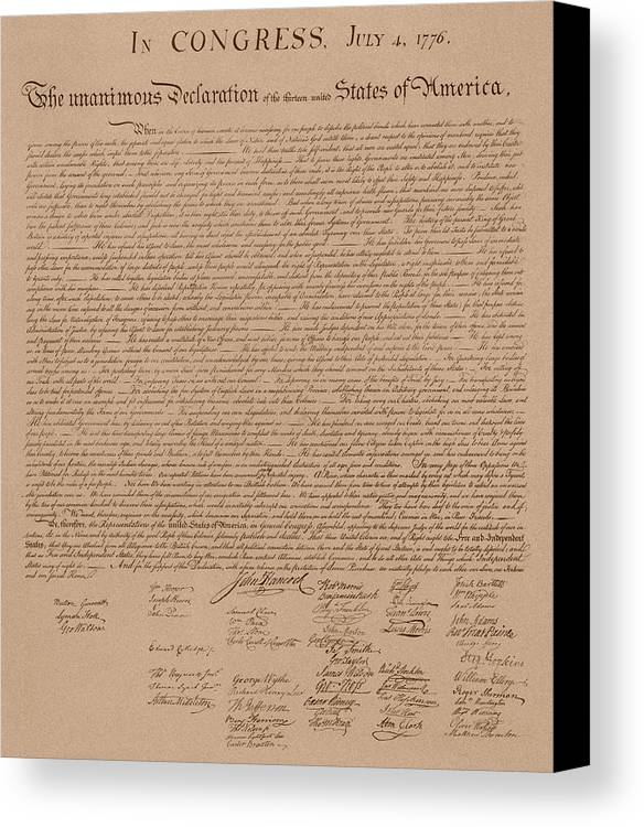 Declaration Of Independence Canvas Print featuring the mixed media The Declaration Of Independence by War Is Hell Store