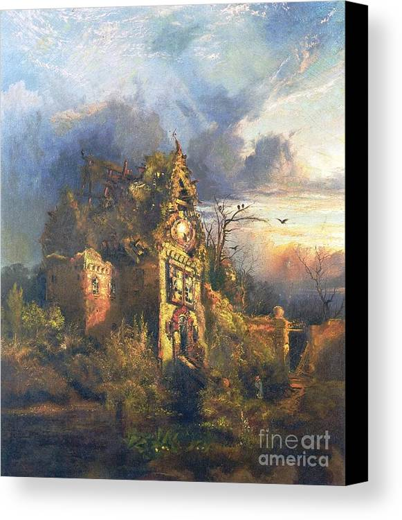 The Haunted House Canvas Print featuring the painting The Haunted House by Thomas Moran