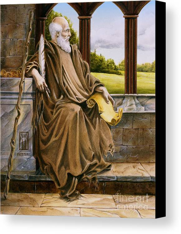 Wise Man Canvas Print featuring the painting The Hermit Nascien by Melissa A Benson
