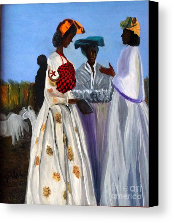Canvas Print featuring the painting Three African Women by Pilar Martinez-Byrne