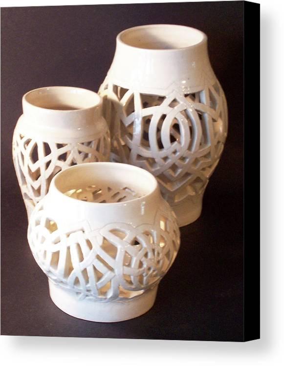 White Canvas Print featuring the ceramic art Three Interlaced Design Wheel Thrown Pots by Carolyn Coffey Wallace