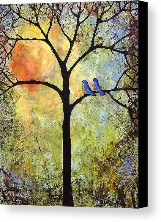 Tree Canvas Print featuring the painting Tree Painting Art - Sunshine by Blenda Studio