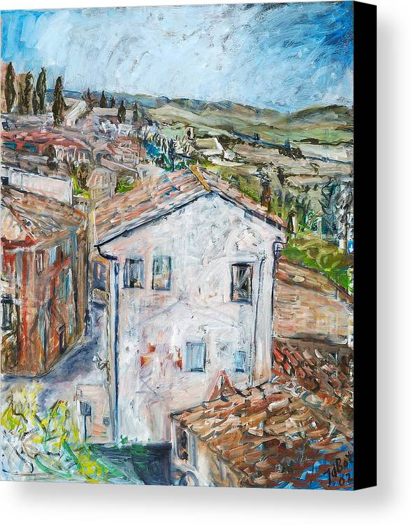 Tuscany Italy White House Landscape Cypresse Hills Roofs Sheds Houses Blue Sky Fields Tiles Canvas Print featuring the painting Tuscan House by Joan De Bot