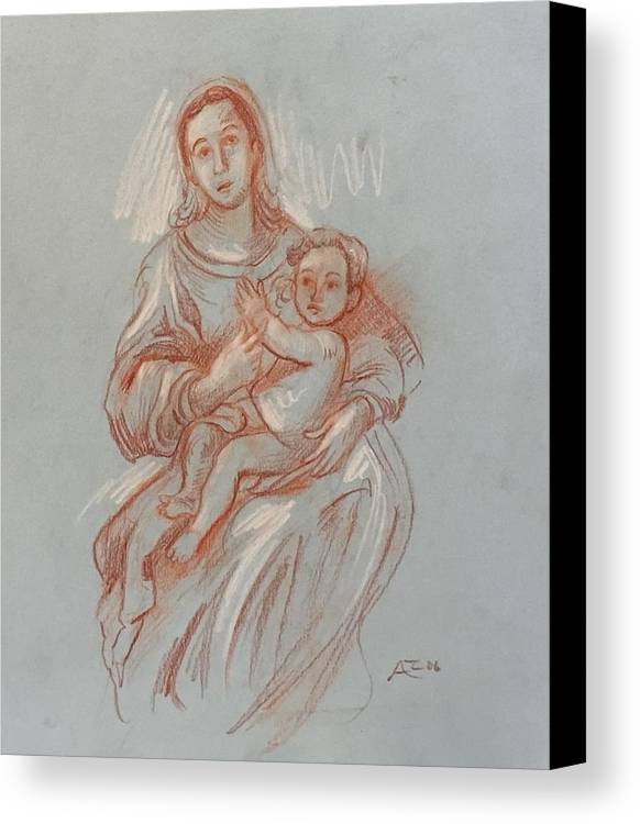 Canvas Print featuring the drawing Virgin And Mary by Alejandro Lopez-Tasso