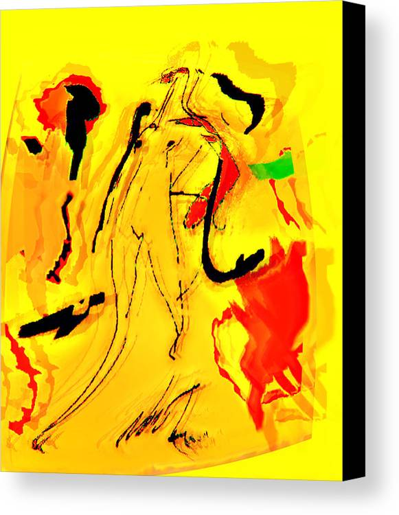 Abstration Canvas Print featuring the digital art Yellow by Noredin Morgan
