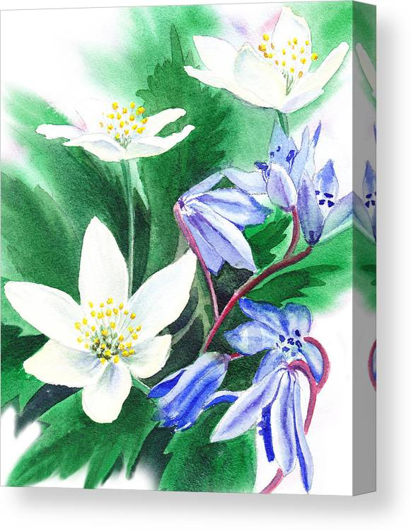 Jasmime Canvas Print featuring the painting Spring Flowers by Irina Sztukowski