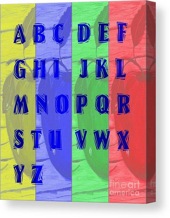Alphabet With Apples Canvas Print featuring the digital art Alphabet With Apples by Barbara Griffin