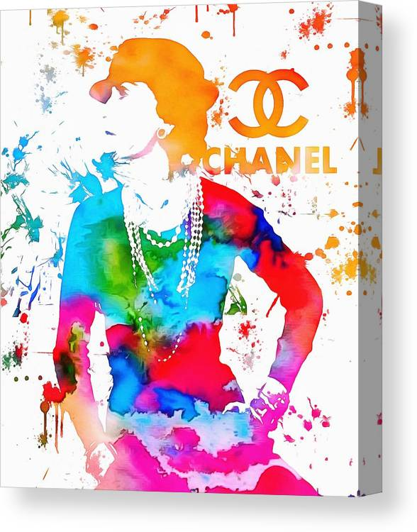 Coco Chanel Canvas Print featuring the painting Coco Chanel Paint Splatter by Dan Sproul