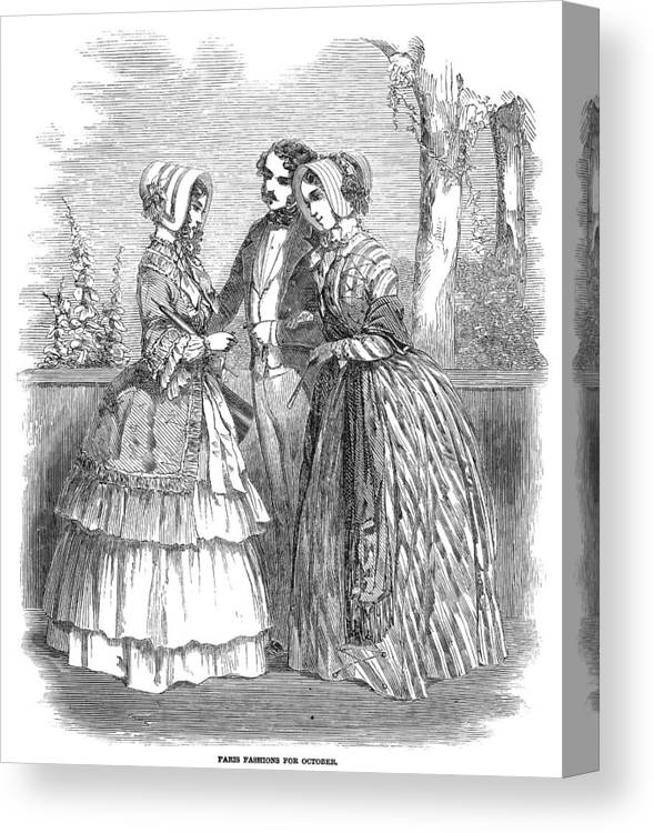 1847 Canvas Print featuring the painting Fashion Women's, 1847 by Granger