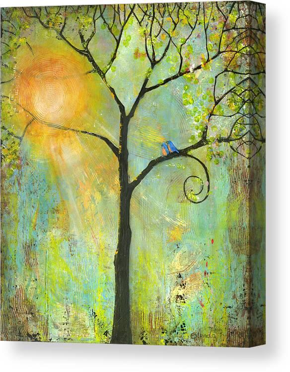Nature Canvas Print featuring the painting Hello Sunshine Tree Birds Sun Art Print by Blenda Tyvoll