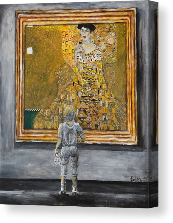 Painting Of Klimt Canvas Print featuring the painting I Dream Of Klimt by Nik Helbig