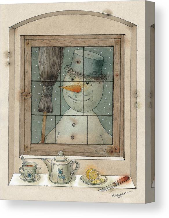 Snowman Winter Tea Breakfast Christmas Holiday Canvas Print featuring the painting Snowman by Kestutis Kasparavicius