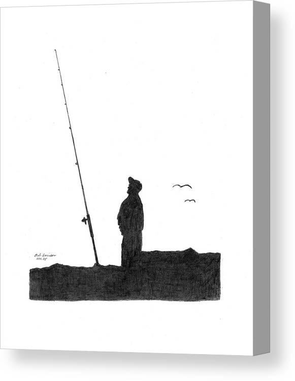 Ernie Canvas Print featuring the drawing Ernie Fishing by Bob and Carol Garrison