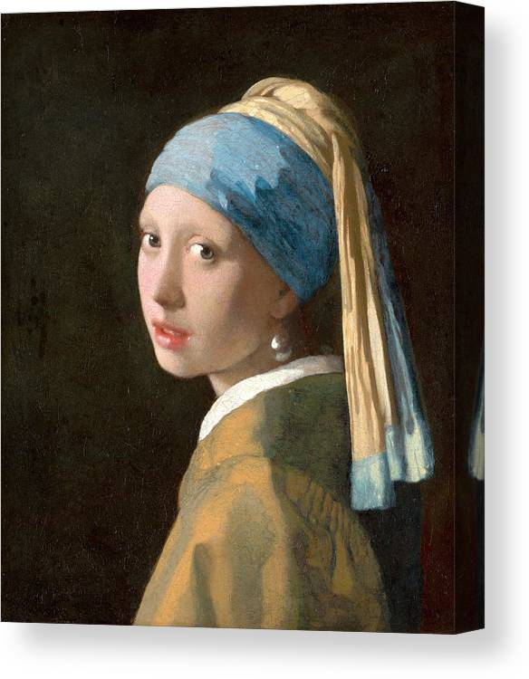 Girl With A Pearl Earring Canvas Print featuring the painting Girl With A Pearl Earring by Johannes Vermeer