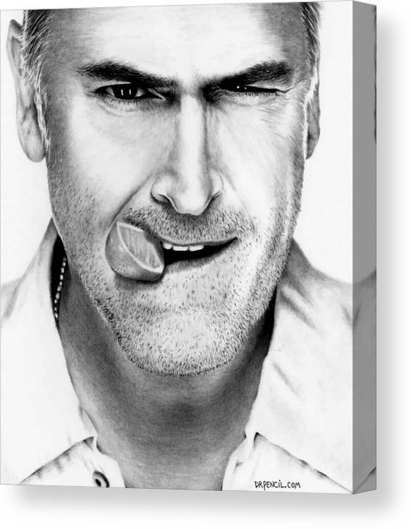 Bruce Campbell Canvas Print featuring the drawing Bruce Campbell by Rick Fortson