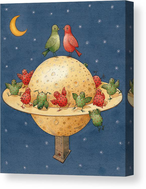 Planet Space Cosmos Love Birds Children Green Red Canvas Print featuring the painting Far Planet by Kestutis Kasparavicius