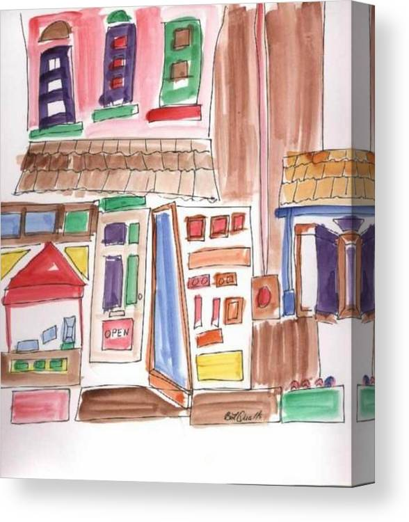 City Canvas Print featuring the painting Festival In The City 3 by B L Qualls