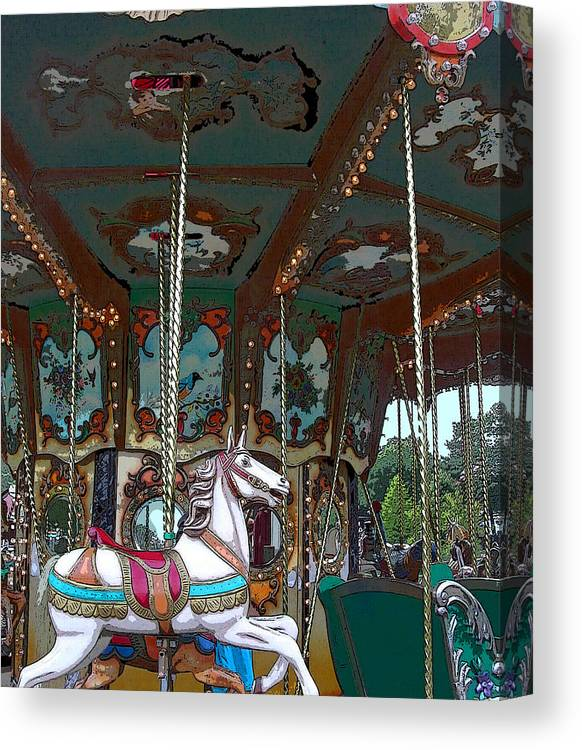 Carousel Canvas Print featuring the photograph I Want The White Horse by Anne Cameron Cutri