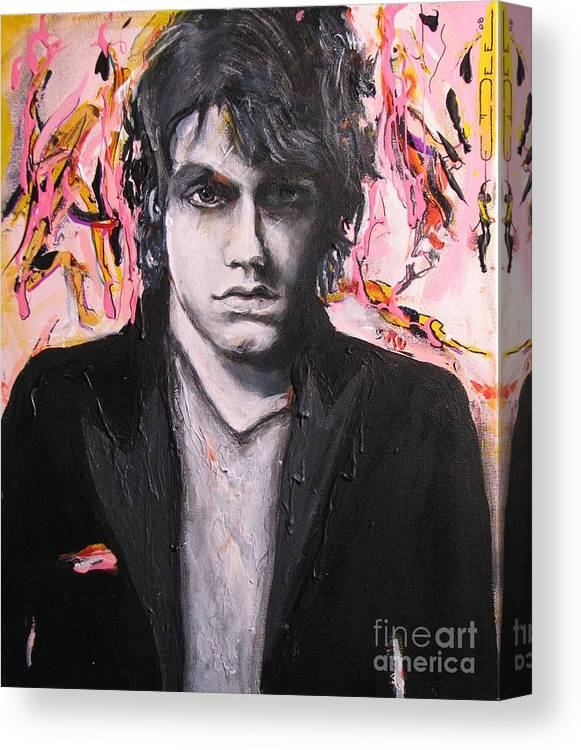 Celebrity Portraits Canvas Print featuring the painting John Mayer by Eric Dee