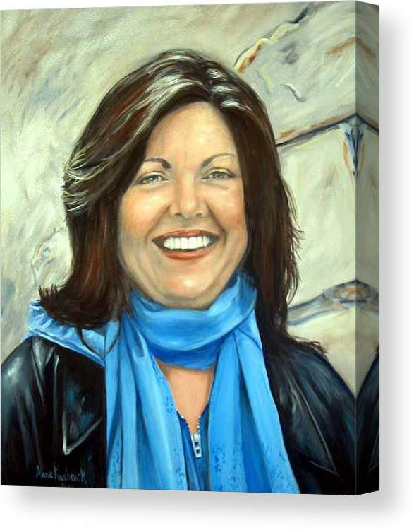 Canvas Print featuring the painting Leslie Eliason by Anne Kushnick