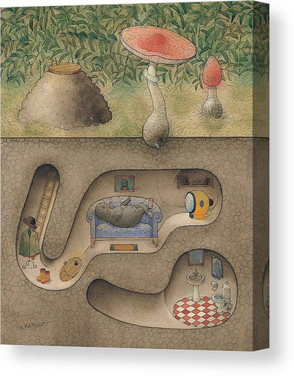 Underground Mole Cellar Tv Agaric Home Relaxation Canvas Print featuring the painting Mole by Kestutis Kasparavicius