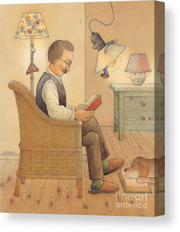 Lamp Room Flat Rest Relax Reading Book Doog Canvas Print featuring the painting My Lamp by Kestutis Kasparavicius