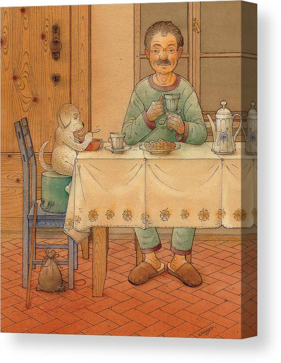 Animals Dog Figure Evening Tea Canvas Print featuring the painting Mysterious Guest by Kestutis Kasparavicius