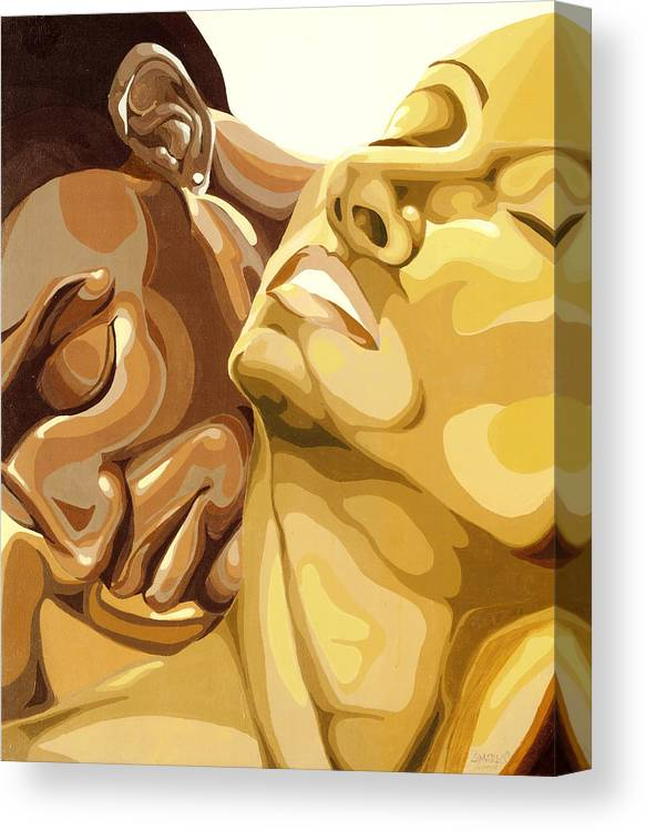 Figures Canvas Print featuring the painting Passion by Lamark Crosby