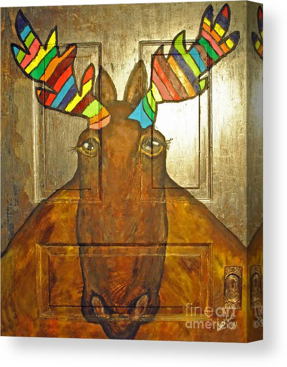 Quigley Canvas Print featuring the painting Quigley The Rustic Colorful Moose by Jost Houk