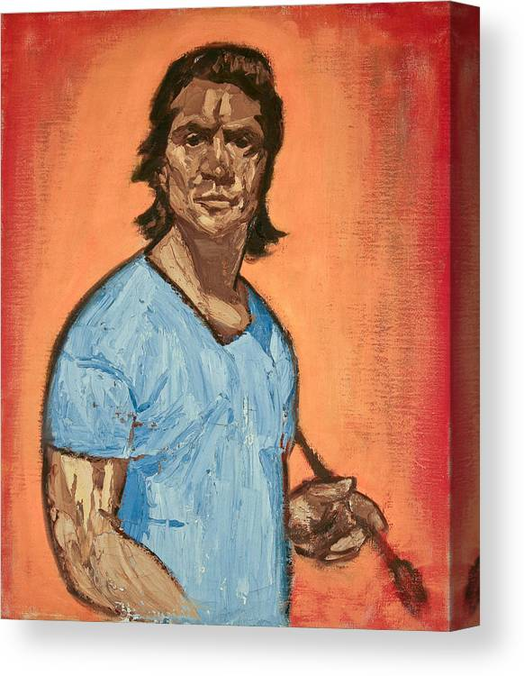 Portrait Canvas Print featuring the painting Self Portrait By Victor Herman by Joni Herman