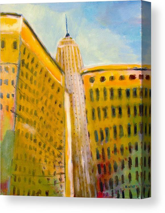 Abstract Cityscape Canvas Print featuring the painting View From The 33 St by Habib Ayat