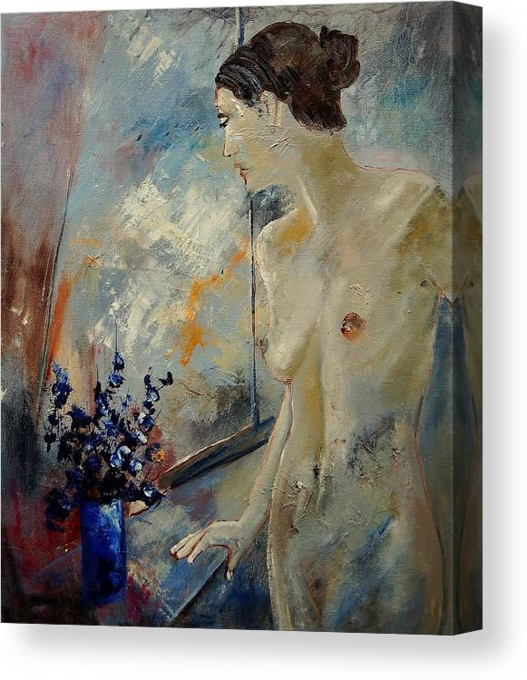 Girl Canvas Print featuring the painting Waiting For Her Lover by Pol Ledent