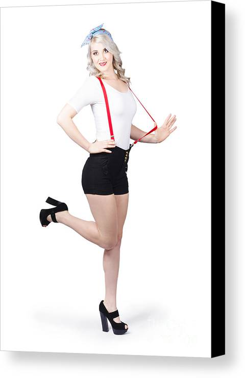 Young Canvas Print featuring the photograph Cute Full Length Pinup Girl. Pinup Footwear by Jorgo Photography - Wall Art Gallery