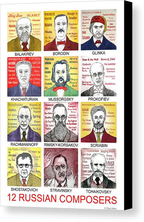 Russian Canvas Print featuring the drawing 12 Russian Composers by Paul Helm