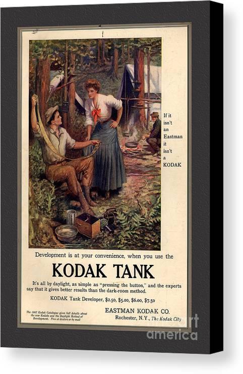 Kodak Tank Canvas Print featuring the mixed media 1907 Vintage Kodak Tank Advertising by Anne Kitzman