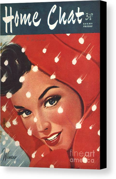 Magazine Cover Canvas Print featuring the drawing 1950s Uk Home Chat Magazine Cover by The Advertising Archives
