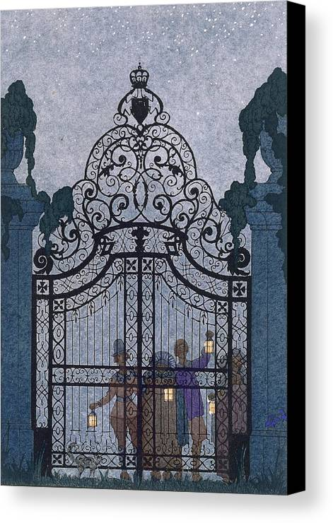 Gates Canvas Print featuring the painting Illustration For 'fetes Galantes' by Georges Barbier