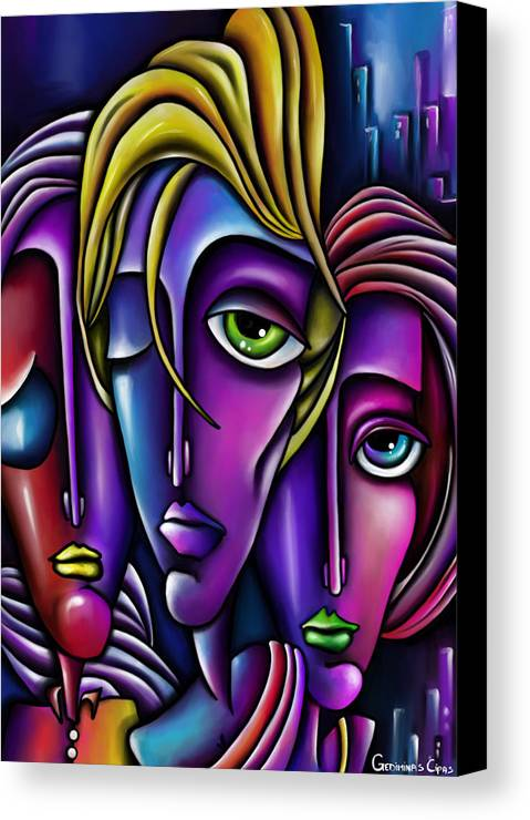 faces canvas print featuring the digital art abstract faces by gediminas cipas