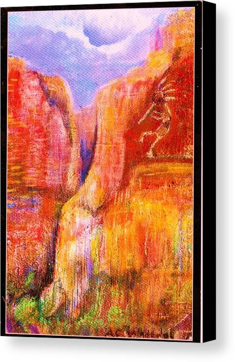 Kokoopelli Canvas Print featuring the painting Another View Of Kokopelli by Anne-Elizabeth Whiteway