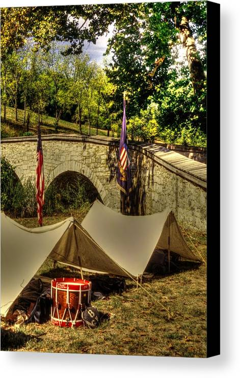 Civil War Canvas Print featuring the photograph Antietam - 8th Connecticut Volunteer Infantry-a1 Encampment Near The Foot Of Burnsides Bridge by Michael Mazaika