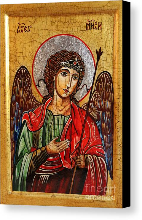 Michael Archangel Canvas Print featuring the painting Archangel Michael Icon by Ryszard Sleczka