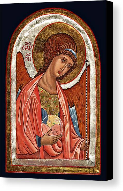 Icona Canvas Print featuring the painting Archangel Michael by Raffaella Lunelli