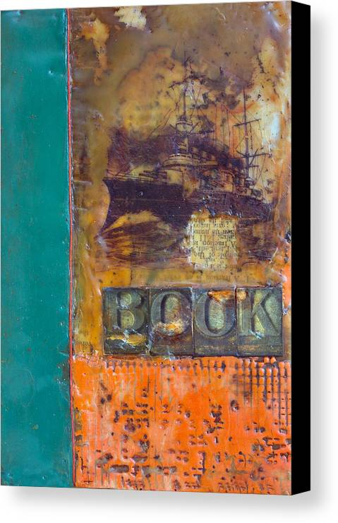 Book Encaustic Canvas Print featuring the painting Book Cover Encaustic by Bellesouth Studio