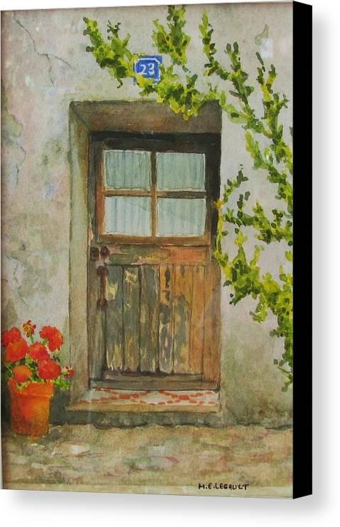 Door Canvas Print featuring the painting Brittany Door by Mary Ellen Mueller Legault