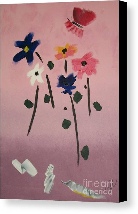 Flowers Canvas Print featuring the painting Broken Vase by Sherry Cordle