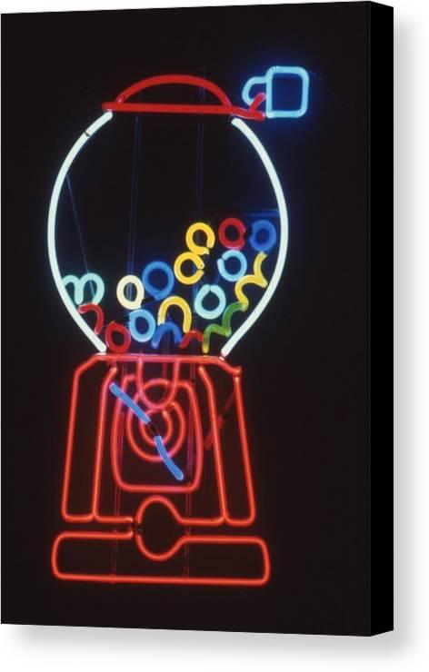 Neon Bubblegum Machine Canvas Print featuring the sculpture Bubblegum Machine by Pacifico Palumbo